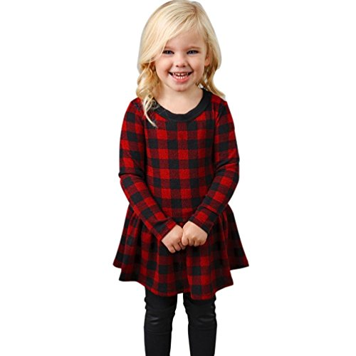lange ärmel Kleid karierten prinzessinnenkleid mini - kleider Plaid-Kleid Kinder Mini Hemdkleid (130, Rot) (Mädchen In Karierten Mini-röcke)