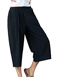 Pantalon Lino Mujer Pantalones Hippie Elegantes Cómodo Anchas Palazzo  Cintura Alta Unicolor Fashion Festivo Pantalones Harem a751d8e3d7e