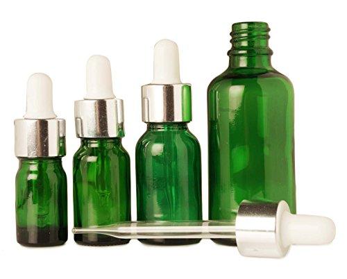 10 ml bouteilles vides vert gouttes d'œil de verre gros boston sérum ronde flacon goutte rechargeable huiles essentielles lot de 6 bouteilles de pipettes