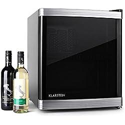 Klarstein Beerlocker mininevera de clase energética B (46 L, vinoteca, nevera de vinos y cervezas, baldas extraíbles, capacidad para 15 botellas, diseño compacto) - negro