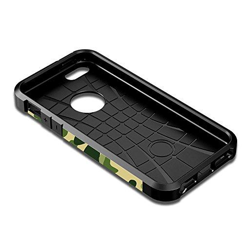 Custodia iPhone SE, Cover iPhone 5 / 5s, Alfort 2 in 1 Custodia Protettiva Premium PC Duro + TPU di alta qualità Flip Case Cover per Apple iPhone SE / 5 / 5s 4.0 Smartphone Immagine Camuffamento per  Camuffamento ( Verde )