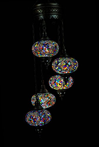 Handmade Turkish Mosaic Chandelier Large Globe Glass Morrcan Style Turkish Lamp