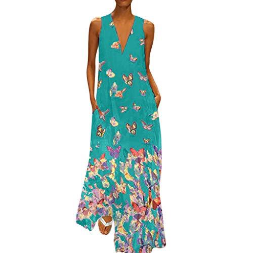 Zegeey Damen Kleid Retro ÄRmellos V-Ausschnitt BöHmen Blumen Drucken Sommer Maxikleid Sommerkleider Strandkleider Blusenkleid(C3-Grün,EU-46/CN-4XL)