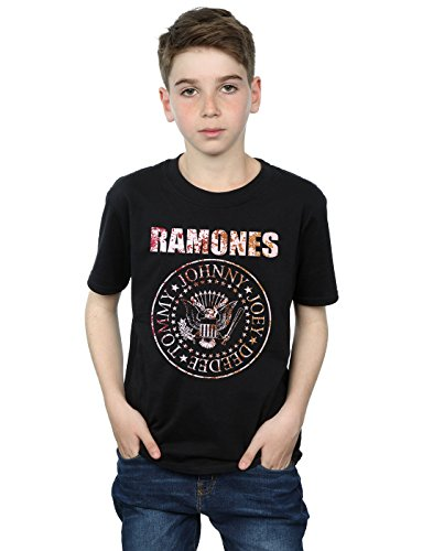 Ramones Niños Flower Rose Camiseta 7-8 Years Negro