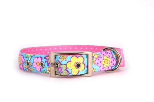 Yellow Dog Design Uptown Hundehalsband, Medium, Flower Power auf rosa Polka, kleine Punkte (Uptown Hund Kragen)