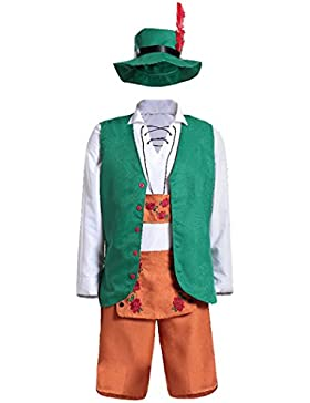 MIOIM Herren Oktoberfest Kleidung Set Trachtenhose mit Träger Männer kostüm Halloween Kniebund Bayerische mit...
