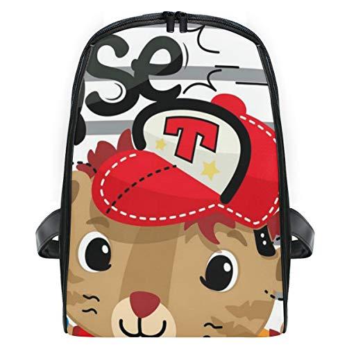 FOURFOOL Niedlicher Tiger-Cartoon-Baseball-Spieler an,Laptop Rucksack für Männer Schulrucksack Multifunktionsrucksack Mini Tagesrucksack für Schule Wandern Reisen Camping -