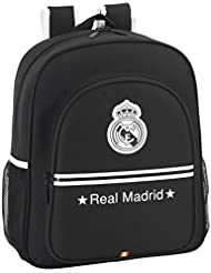 Real Madrid - Mochila junior adaptable, 32 x 38 cm, color negro (Safta 611524640)