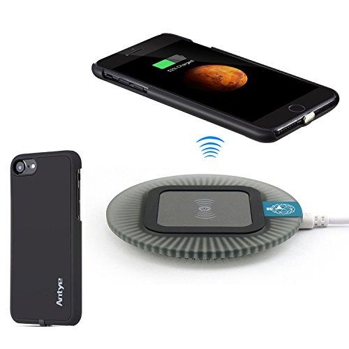 Antye® Qi Wireless Ladegerät Kit für iPhone 7 (4.7 Zoll)【Drahtlos ladegerät lade pad &Wireless Charging Receiver für iPhone 7】 (schwarz) Iphone Pad
