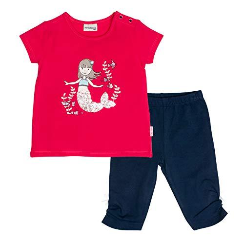 SALT AND PEPPER Baby-Mädchen Set Meer Uni Print Bekleidungsset, Mehrfarbig (Hibiscus Red Navy 360-455), 80