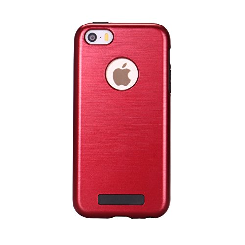 iPhone SE Coque,iPhone 5S Case,iPhone 5 Bumper - Felfy Ultra Slim Case Mat Ultra Mince et Ultra Light Bumper Cover TPU Silicone & PC Plastic Série Imitation Métal Case Etui Housse de protection Shell  Rouge