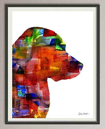 golden retriever Rasse Hunde Hunderasse Fine Art Print Aquarell Silhouette Profil Poster Kunstdruck Plakat modern ungerahmt DIN A 4 Deko Wand Bild -