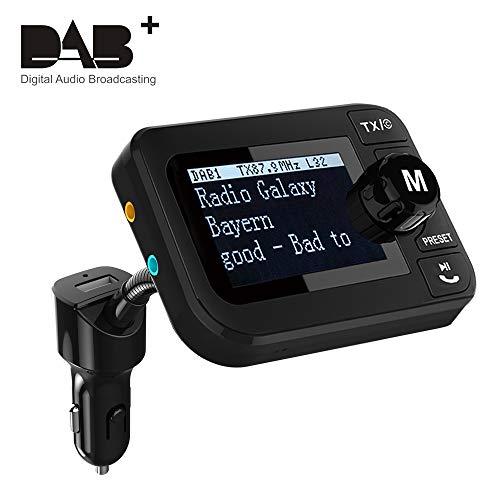 "Auto DAB Transmitter,[PLUG&PLAY] DAB Adapter für Autoradio DAB Adapter Autoradio DAB+ Adapter mit FM Sender Freisprechen Bluetooth Audio Empfänger 5V 2.1A Kfz Ladegerät U-Disk/TF Play 2.3\"" LCD-Display"