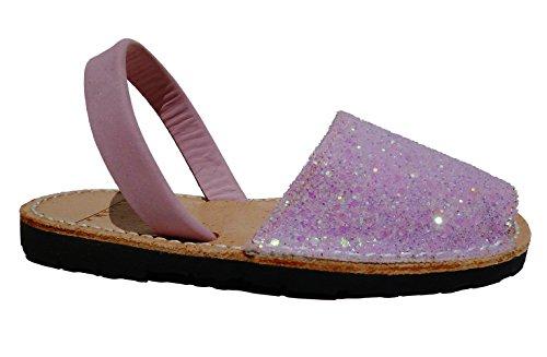 Sandales authentiques minorquines, tailles pour les filles, différentes couleurs. Avarcas menorquínas. glitter Glitter rosa candy