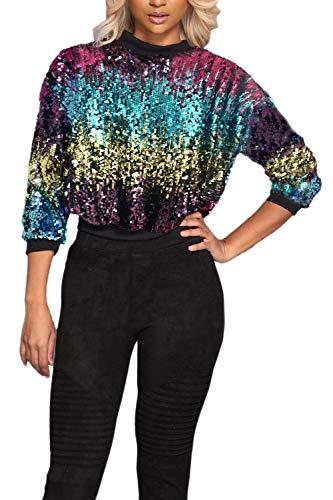 Rinalay Sciolto Pullover Donna con Paillettes Felpa Casual Maglioni Camicetta Glitter Manica Lunga Top Nightclub Girocollo Maglie Pullover Top Shirt (Color : Multicolors, Size : L)