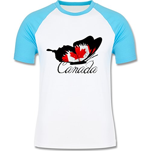 Länder - Schmetterling Canada - zweifarbiges Baseballshirt für Männer Weiß/Türkis
