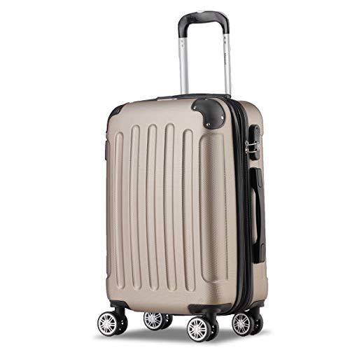 Flexot 2045 Handgepäck Koffer (Bordcase) - Farbe Champagner Größe M Hartschalen-Koffer Trolley Rollkoffer Reisekoffer Handgepäck 4 Rollen