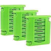 Preisvergleich für 3x WELLGRO® Tablettenbox für 7 Tage - je 4 Fächer pro Tag - 11,5 x 4,5 x 13 cm (BxTxH) - Farbe wählbar, Farbe:...