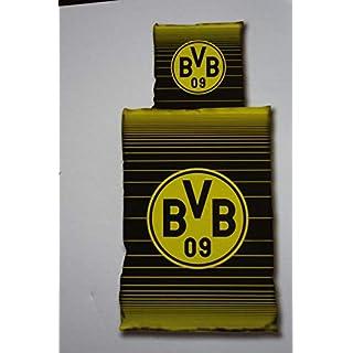Borussia Dortmund (BVB Bettwäsche, 1 x Kissenbezug 80 x 80 cm und 1 x Bettbezug 135 x 200 cm, 100% Baumwolle mit Reißverschluss