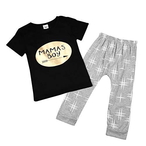 Kleinkind Baby Boy Kleidung Det Mamas Boy T-Shirt Top und Lange Hose 2 Stück Outfit (Mama Und Baby Boy Kostüm)