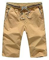 EKU Mens Fashion Cotton Twill Drawstring Plain Casual Chino Shorts L Khaki