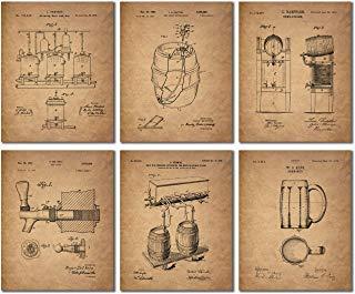 BigWig Prints Bier Patent Wall Art Prints-Set von sechs Vintage Bar Fotos Blue Barrel Mug