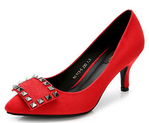 AalarDom Damen Spitz Zehe Ziehen Auf Rein Stiletto Pumps Schuhe Rot-7CM