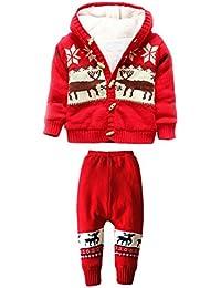 MNBS Suéter rebeca de los bebés de la chaqueta de las muchachas del casquillo del bebé de la Navidad suéteres con capucha suéteres de invierno dos piezas