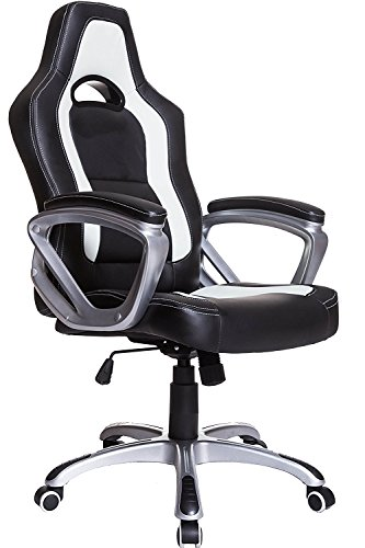 Brand New Designed Racing Sport Swivel Office chair in Black White Color
