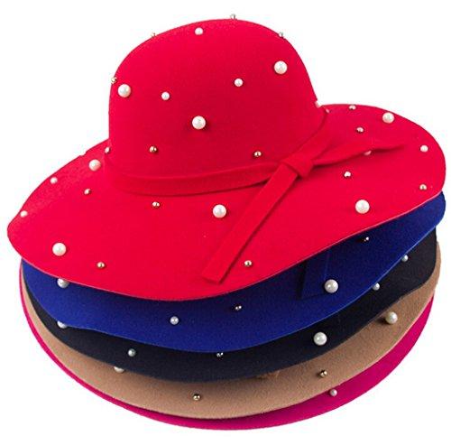 Bigood Chapeau Femme Velours Jazz Large Bord Perle Style Classique Soirée Abricot