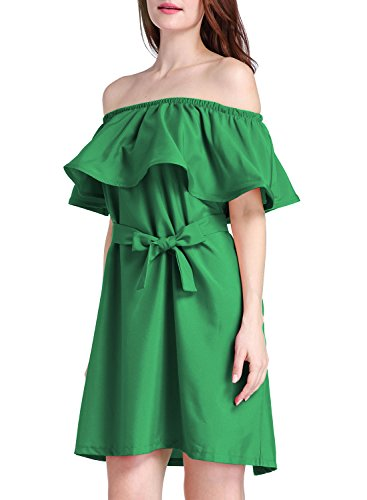 Futurino Frauen Mehrfarbig Colors Off The Shoulder Ruffle Shift Mini Kleid Grün