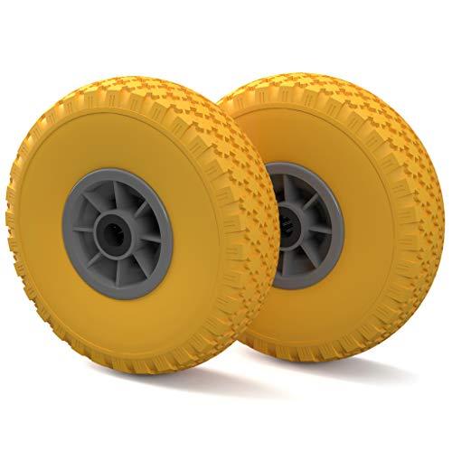 Preisvergleich Produktbild 2 x PU Rad Ø 260 mm 3.00-4 Nadellager,  Bollerwagen,  Sackkarrenrad,  PANNENFREI,  gelb / grau