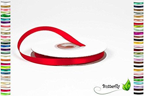Creativery 25m Rolle Satinband 6mm (rot 250) // Schleifenband Deko Band Dekoband Geschenkband Dekoration Hochzeit Taufe (Rot Band)