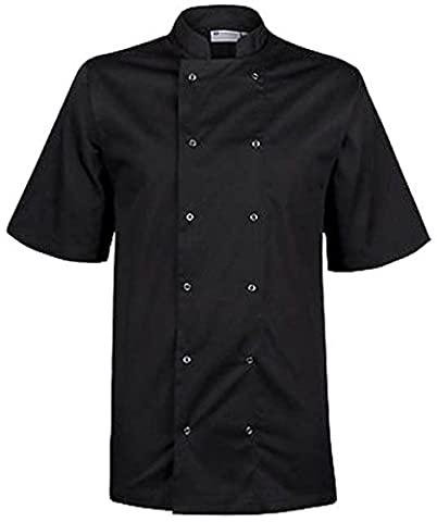 Mcintyre Unisex-Adult Poly Cotton Chefs Half Sleeve Coats/Jackets, Large, Black