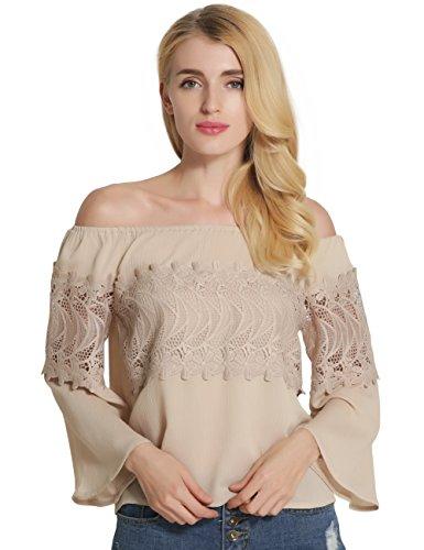 SunIfSnow Damen Bluse, Einfarbig Gr. XL, khaki (Tunic Eyelet Cotton)