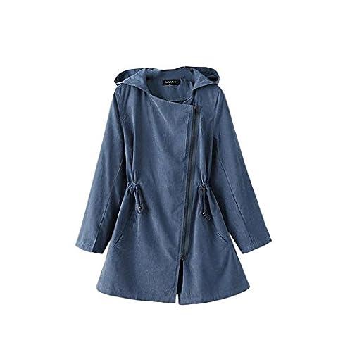iPretty Herbst Winterjacke Damen mit Kapuze warmen Wintermantel damen Lang Parka Winter Trenchcoat Outwear-Blau-L