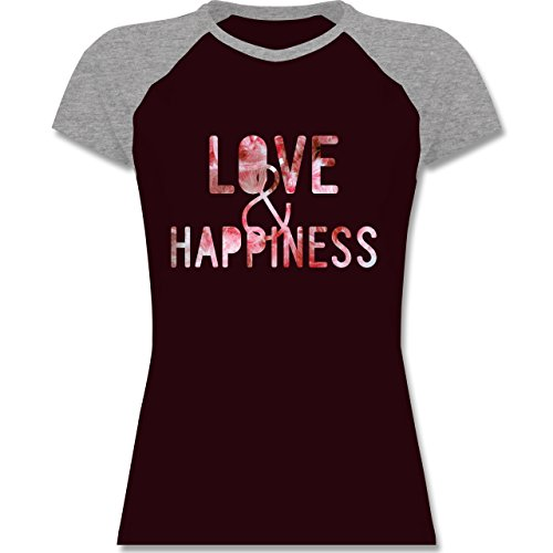 Statement Shirts - Love & Happiness Pink - zweifarbiges Baseballshirt / Raglan T-Shirt für Damen Burgundrot/Grau meliert