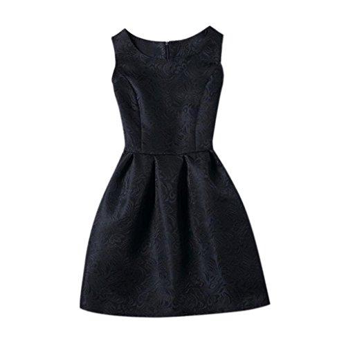 élégantes robe, Amlaiworld Femmes élégantes Casual sans manches a-ligne robes de soirée Noir