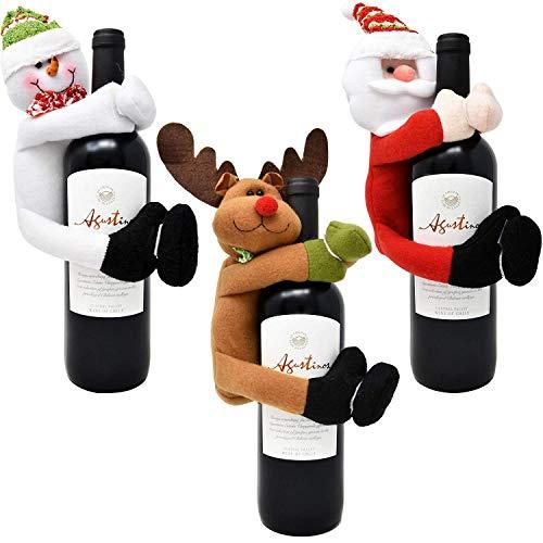 Gift Boutique Weinflaschenhülle für Weihnachten, 3 Stück, Weihnachtsmann Schneemann und Rentier-Design für Zuhause und Küche, Urlaub, Party, Tischdekoration, Geschenkverpackung, Zubehör