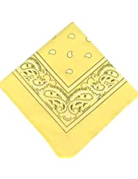 LARGE PALE YELLOW Bandana Black white square Paisley pattern