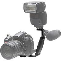 Phot-R P-FBL Heavy Duty Professional L Shaped Flash-Bracket Taschenlampe Kamera-Halter Schnell Flip für Flashguns und Mikrofone mit 2 Standard Hot-Shoe-Halterungen schwarz