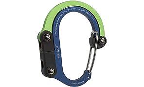 Clip de mosquetón multifunción Heroclip 3 en 1 con gancho giratorio plegable - Clip fuerte para acampar, viaje, herramienta de aventura, accesorio deportivo, Ganchos Carrito Bebé (Green Blue)