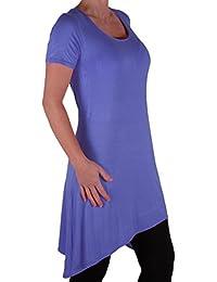 Eyecatch Plus - Plain Lange Drapierte Damen Rundem Halsausschnitt der Frauen Kurzarm Stretch Top Größen 42 - 56
