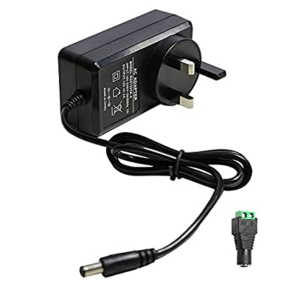 12V 2A Power Supply Adapter, AC 100-240V to DC 12V Transformers, Switching Power Supply for 12V 3528/5050 LED Strip Lights, 24W Max, 12 Volt 2 Amp Power Adapter, 2.1mm X 5.5mm UK Plug from qx-elec