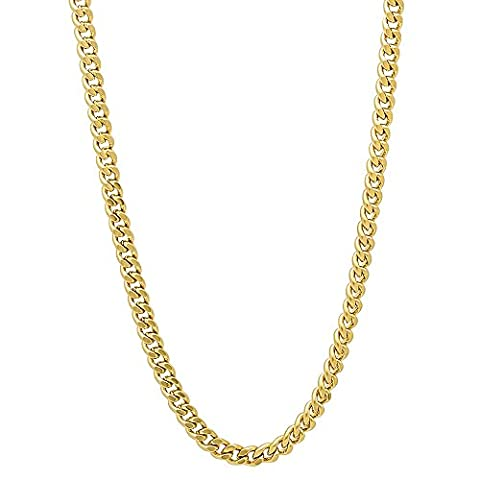 3mm Gold Plated Flat Cuban Link Curb Chain Necklace, 50.5 cm + Microfiber Jewelry Polishing Cloth