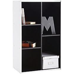 Abitti Estantería librería 5 Compartimentos. 50x80cm. Blanco y Negro. para salón Comedor Estudio