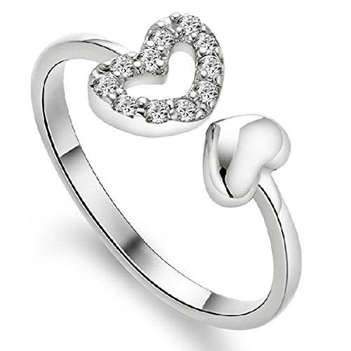 aiuin 1pcs anello di argento metal-ajustable forma di cuore anello di strass regalo di fidanzamento Valentino Gioielli e Accessori