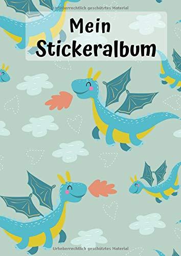 Mein Stickeralbum: Motiv Drachen | Blanko | Kein Silikonpapier | DIN A4 | 30 Seiten | Geschenkidee -