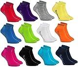 Rainbow Socks -Ragazza e Ragazzo - Calzini Corti di Cotone - 12 paia - Multicolore - Tamaño UE 30-35