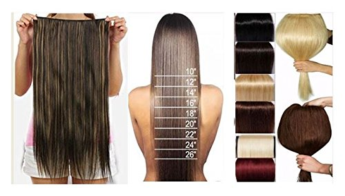 BigWave 5 Clip in 24 inch straight Hair Extension Brown Color with Gold highlight